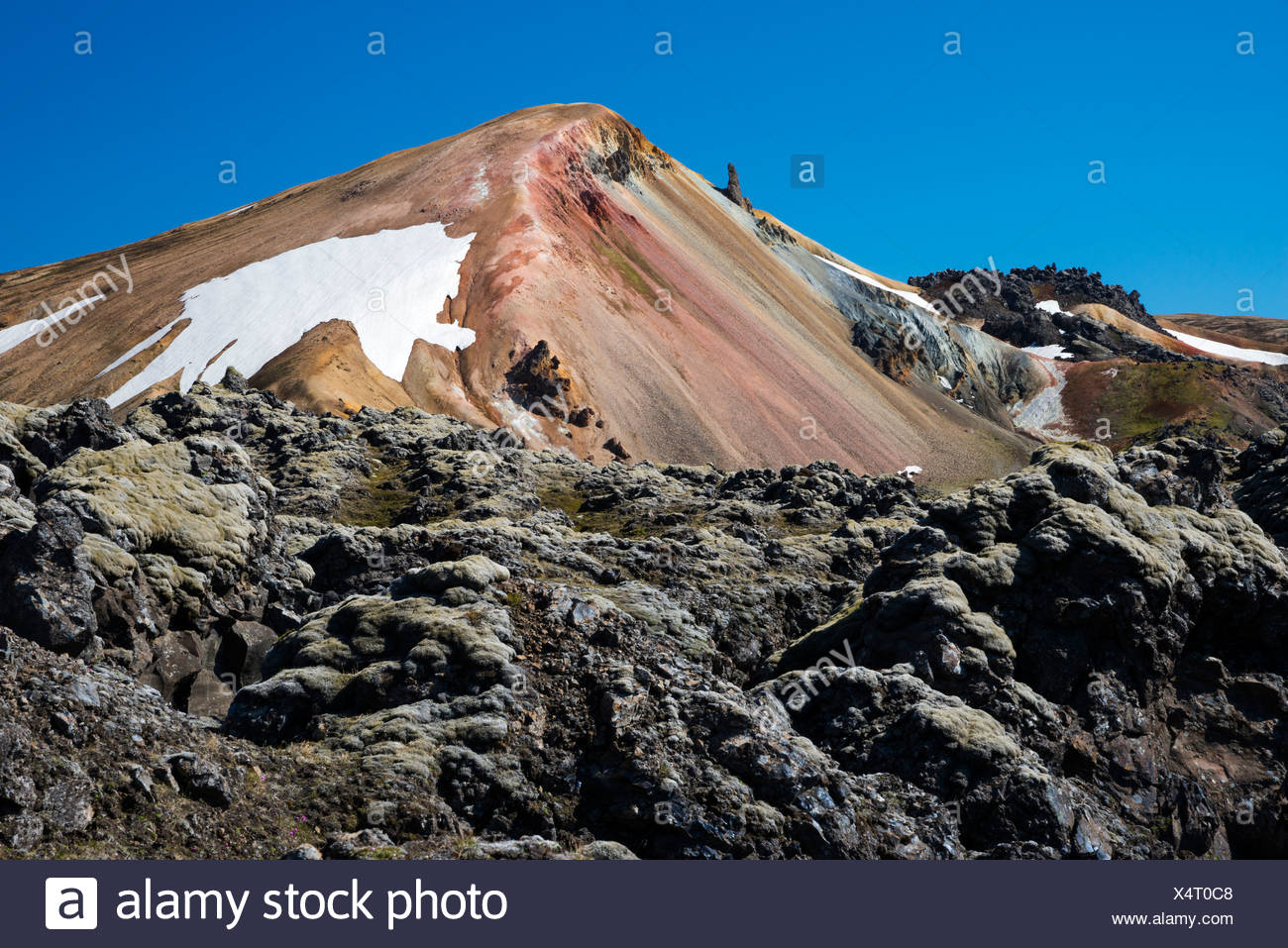 Brennisteinsalda volcano with the Laugahraun lava field, rhyolite mountains, Landmannalaugar, Fjallabak Nature Reserve - Stock Image