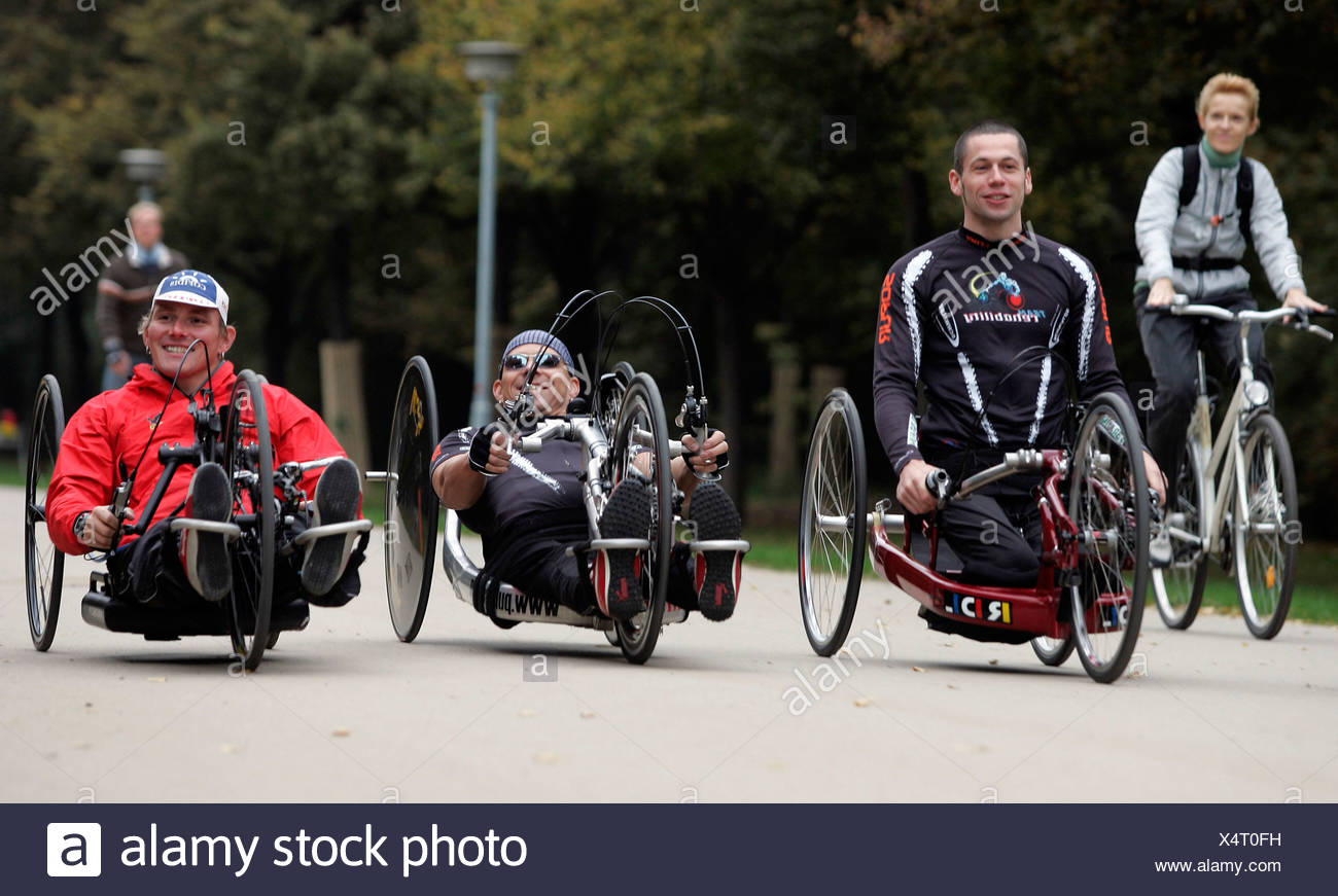 Training for handbike marathon - Stock Image