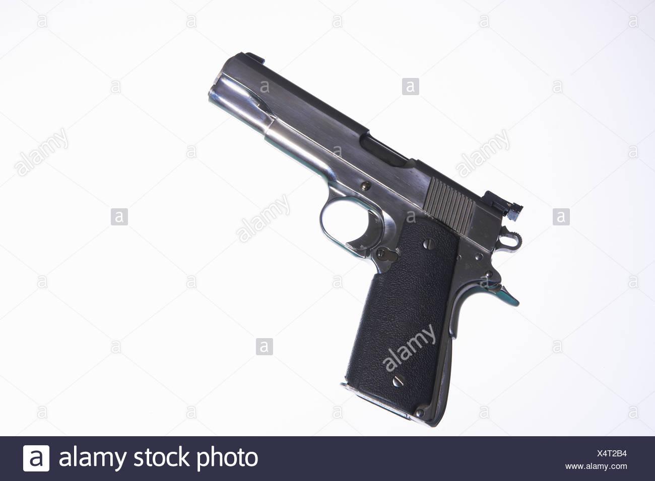 Close up of handgun - Stock Image