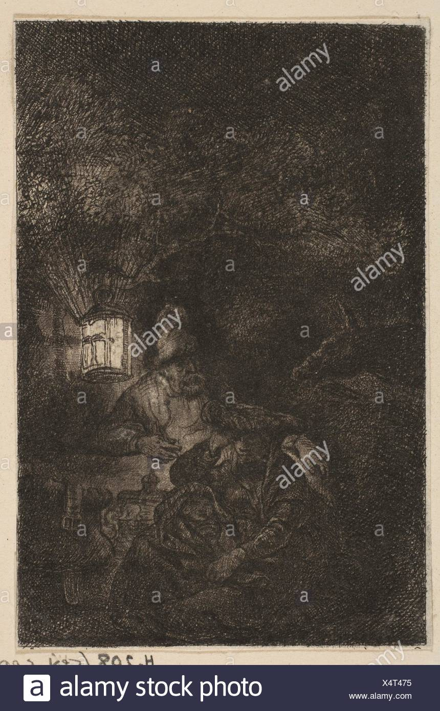 The Rest on the Flight into Egypt: A Night Piece (reverse copy). Artist: Francesco Novelli (Italian, 1764-1836); Artist: After Rembrandt (Rembrandt - Stock Image