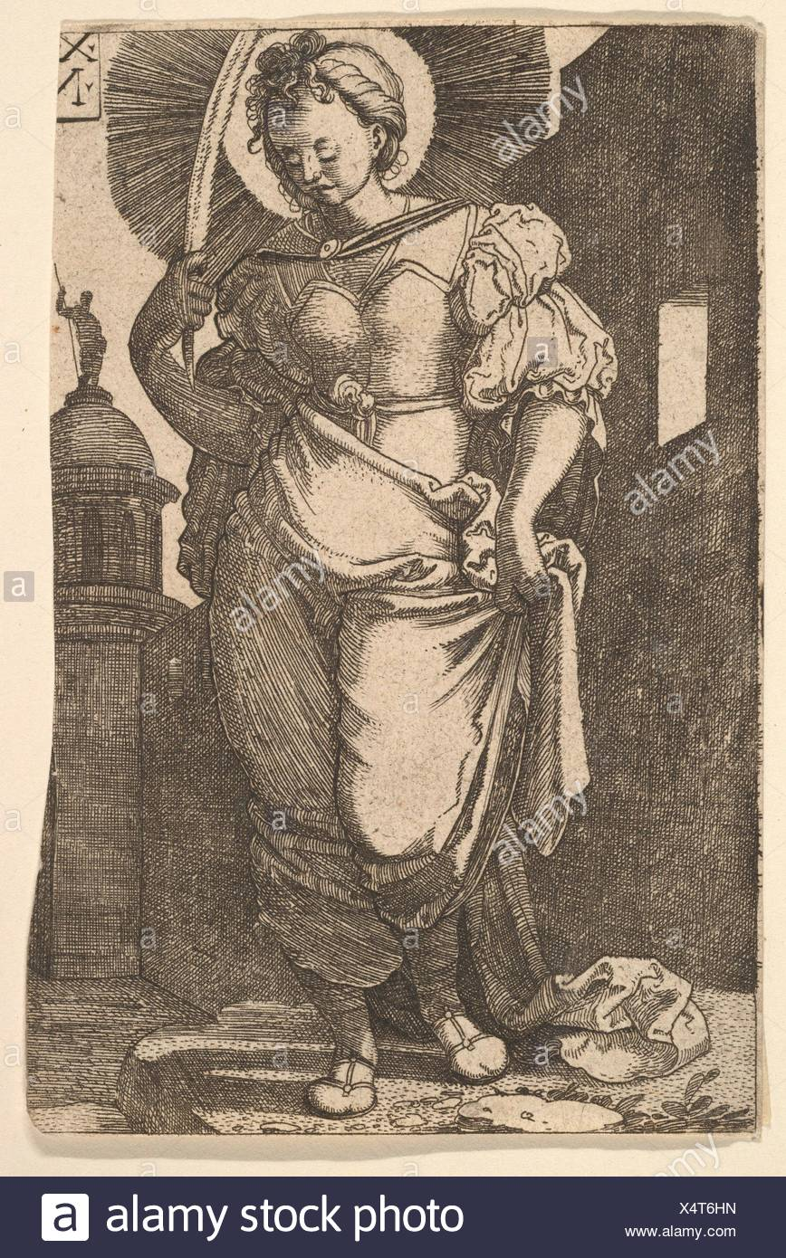 St. Barbara. Artist: Nikolaus Hogenberg (Netherlandish, Munich ca. 1500-1539 Mechelen); Date: 1525; Medium: Etching; Dimensions: sheet: 4 5/8 x 3 - Stock Image