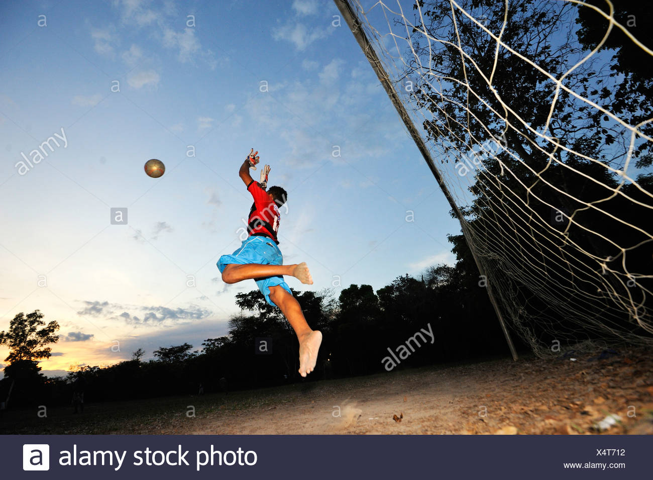 Goalkeeper wearing the jersey of Flamengo football club on a pitch, Brazil, South America, Latin America - Stock Image