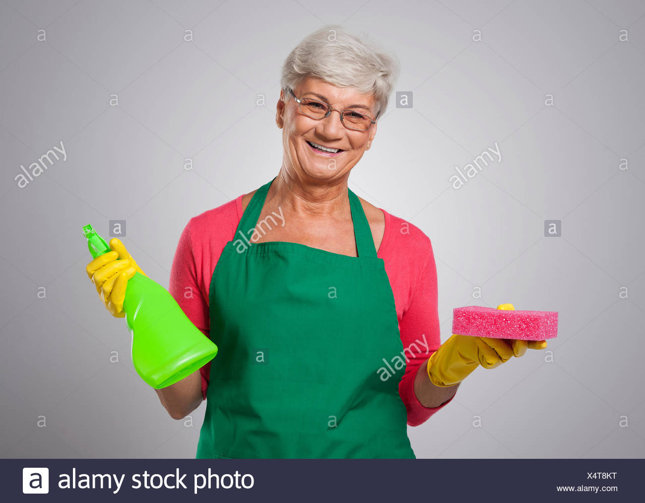 She nearly done with the housework. Debica, Poland - Stock Image