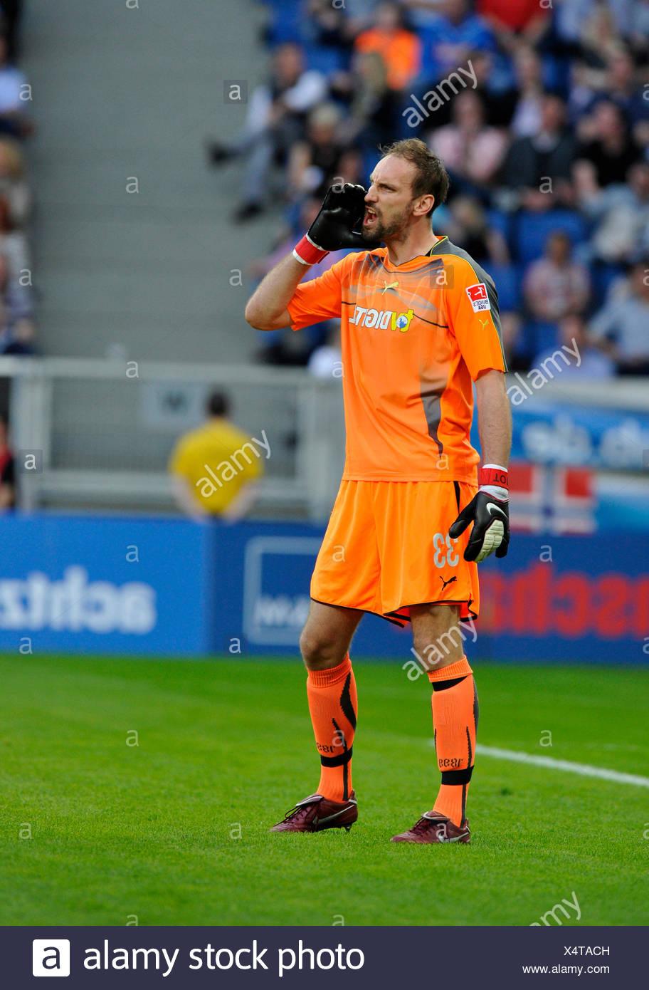 Goalkeeper Tom Starke, TSG 1899 Hoffenheim, loudly instructing the defense Stock Photo