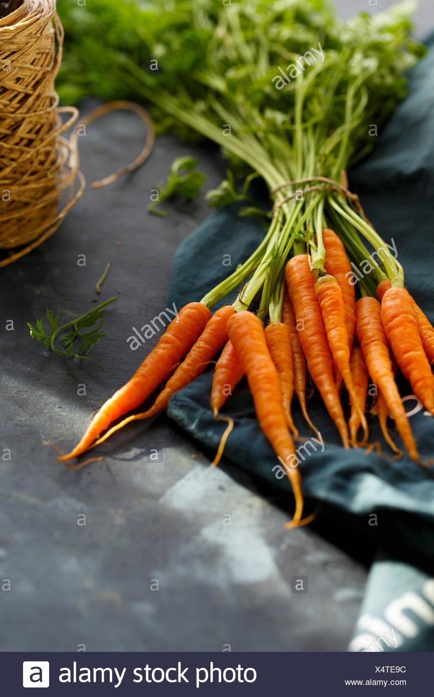 Baby Carrots, farm fresh Stock Photo