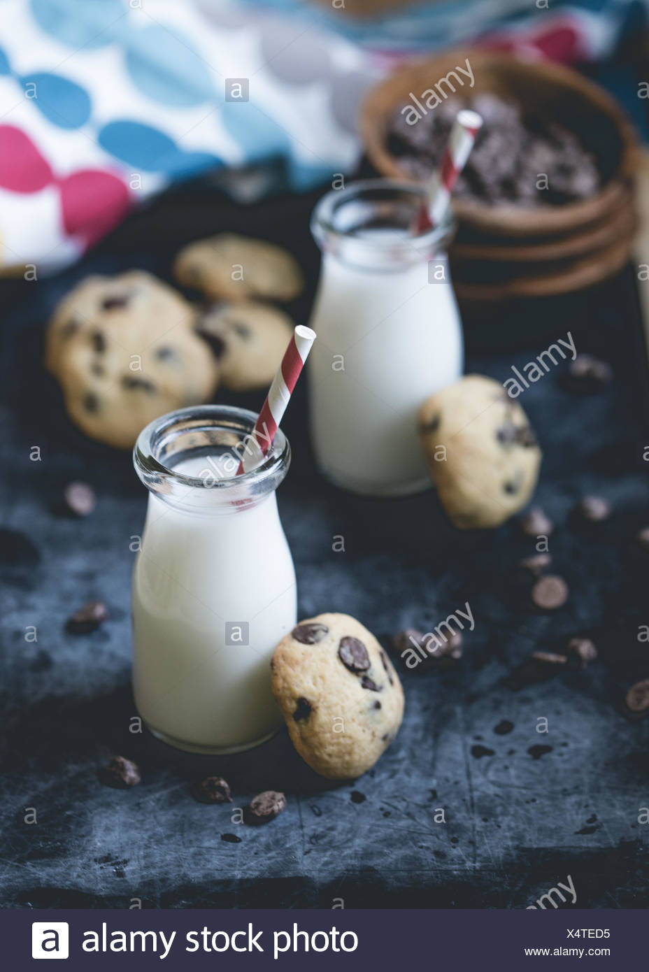Chocolate chip cookies and milk - Stock Image