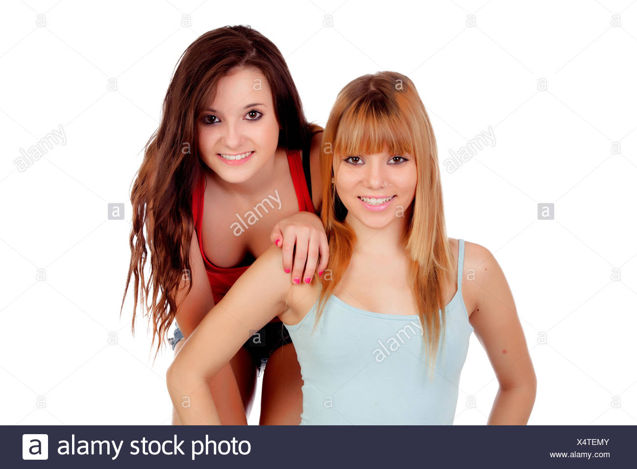 Can Beautiful teen sisters in woods