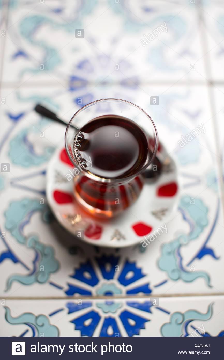Traditional turkish tea, overhead view - Stock Image