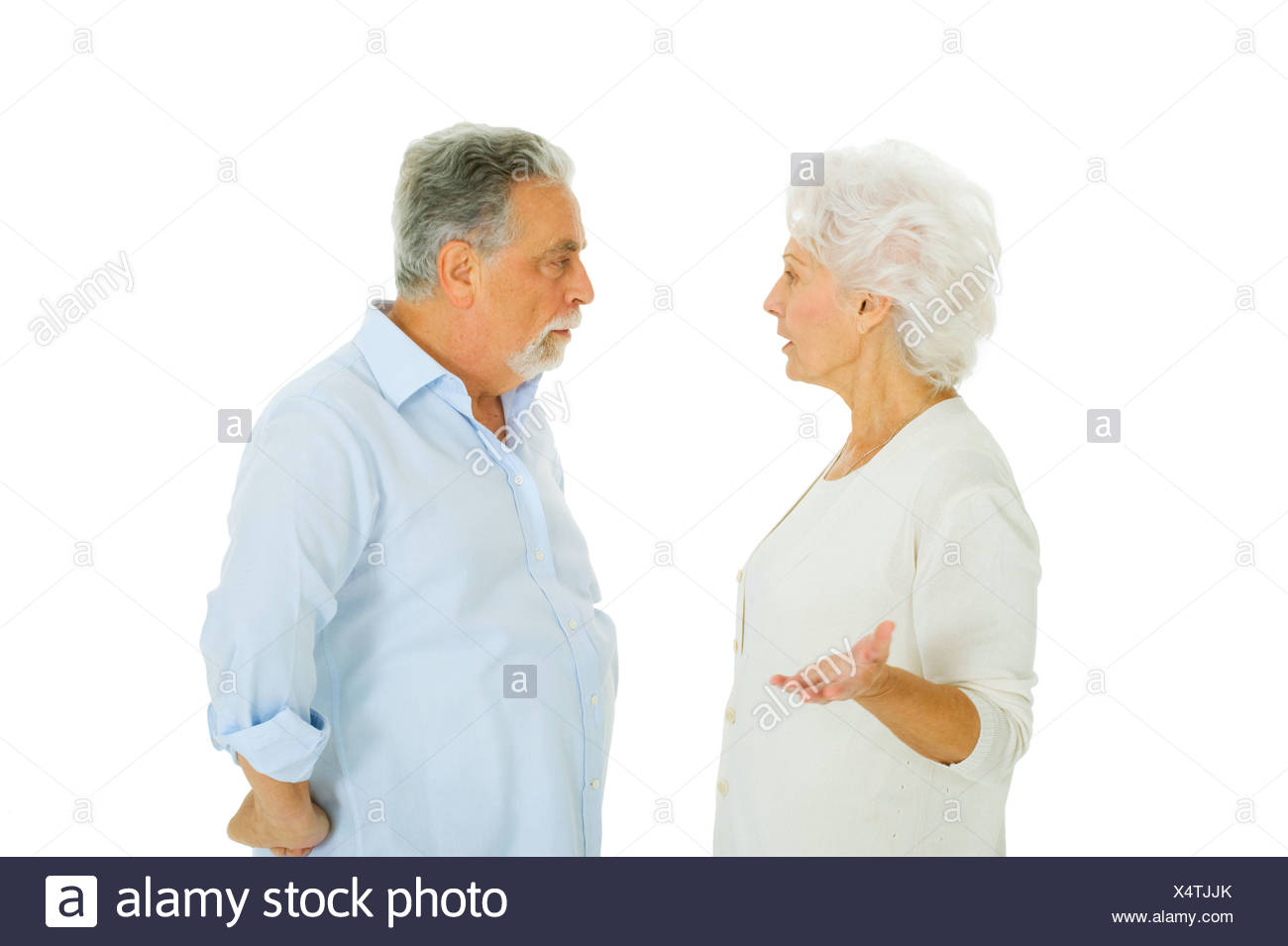 elderly couple disagreement - Stock Image