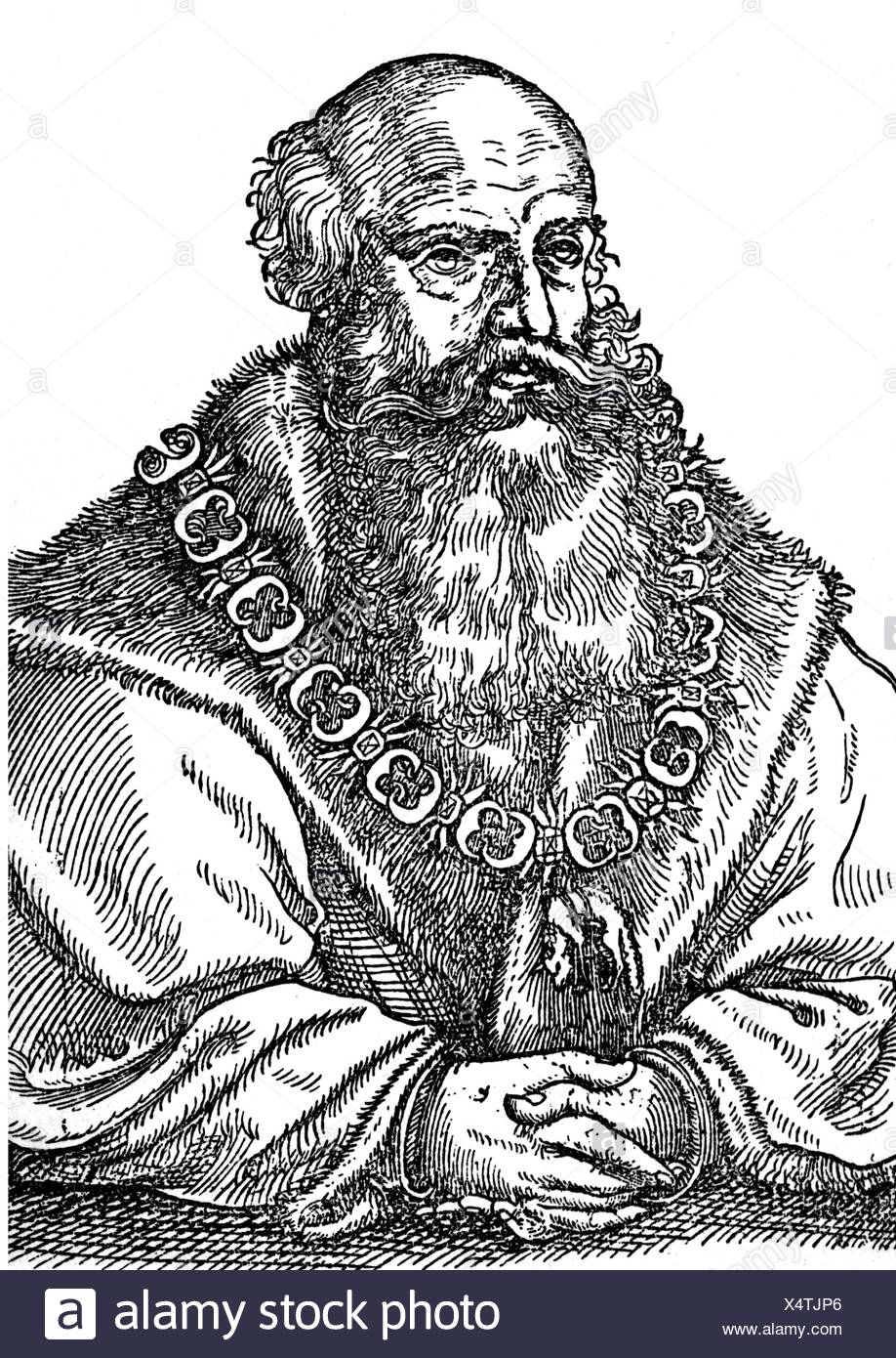George the Bearded, 27.8.1471 - 17.4.1539, Duke of Saxony 12.9.1500 - 17.4.1539, half length, after woodcut by Cranach, wood engraving, 19th century, Additional-Rights-Clearances-NA - Stock Image