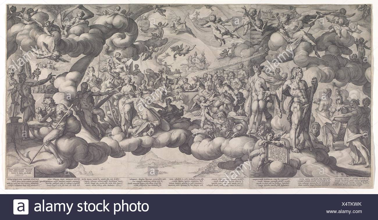 The Feast of the Gods at the Marriage of Cupid and Psyche. Artist: Hendrick Goltzius (Netherlandish, Mühlbracht 1558-1617 Haarlem); Artist: After Stock Photo