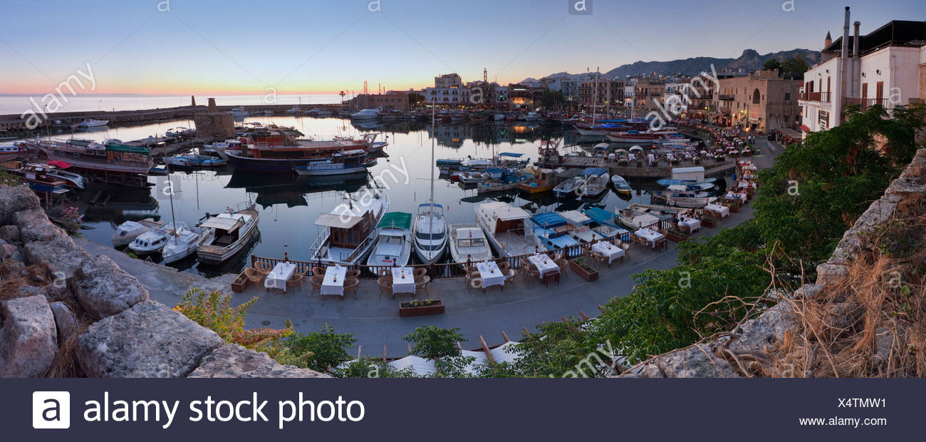 Evening mood at the port of Kyrenia, also known as Girne, Northern Cyprus, Cyprus, Turkish section, Southern Europe, Europe Stock Photo