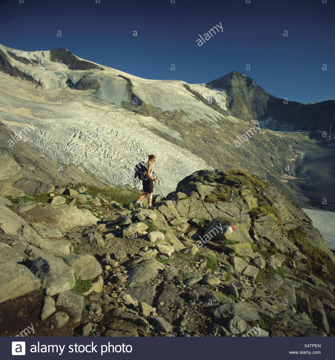 Austria, Osttirol, Matrei, Gletscherkees, traveller, mountains, mountains, scenery, mountain landscape, snow, ice, glacier, glacier ice, stones, scanty, nature, person, woman, backpack, mountain hike, tour, walk, travelling area, - Stock Image