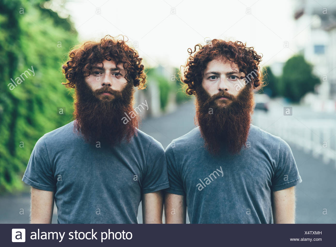 Portrait of identical adult male twins with red hair and beards on sidewalk Stock Photo