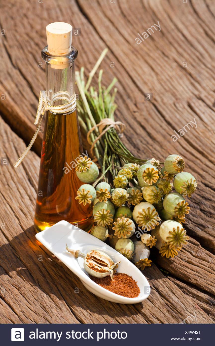 Mohnkapsel, Mohnsamen und eine Flasche Mohnöl stehen auf einem alten rustikalem Holztisch - Stock Image