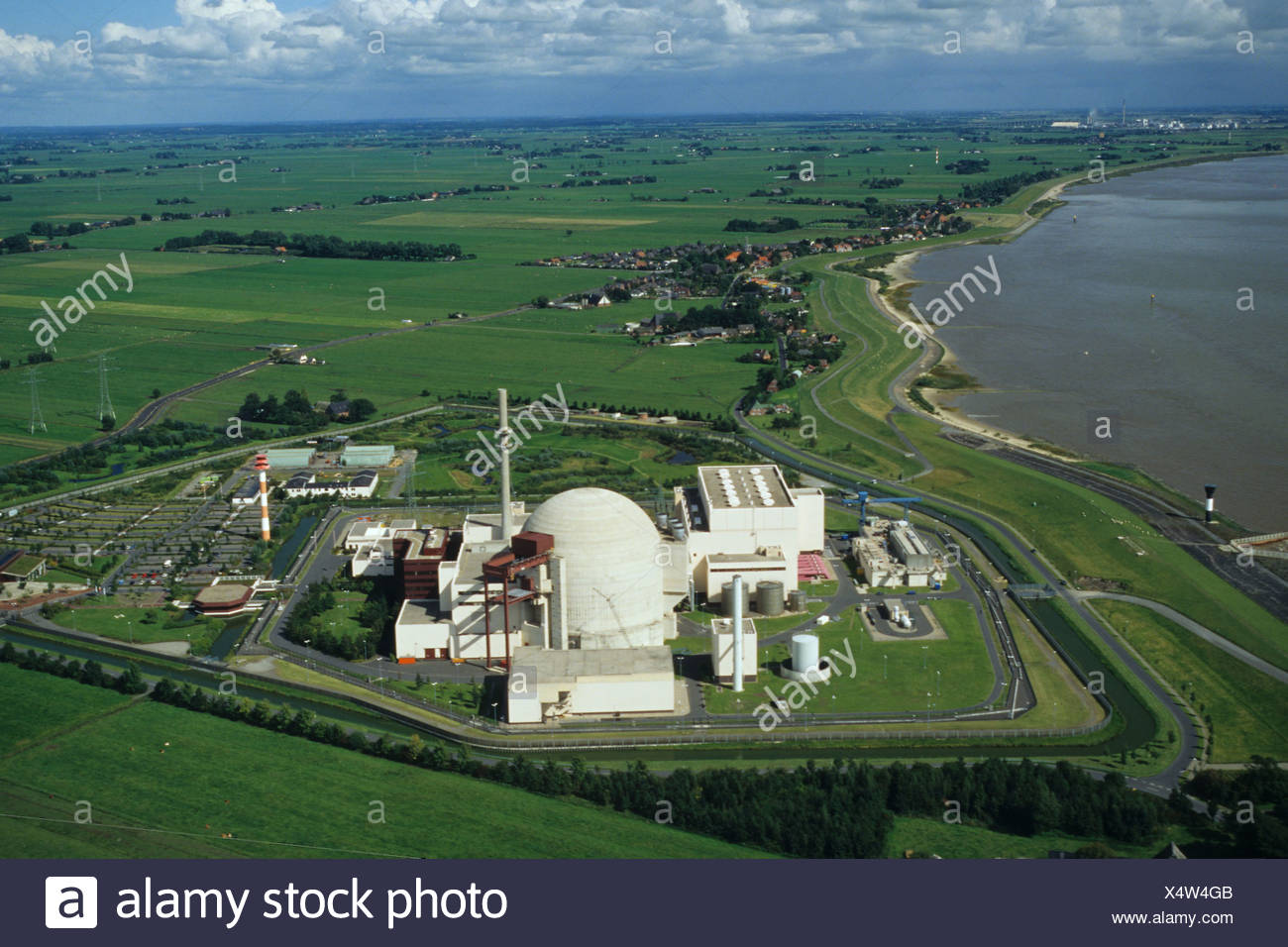 aerial photo nuclear power plant Brokdorf in the state of Schleswig-Holstein, Germany Stock Photo