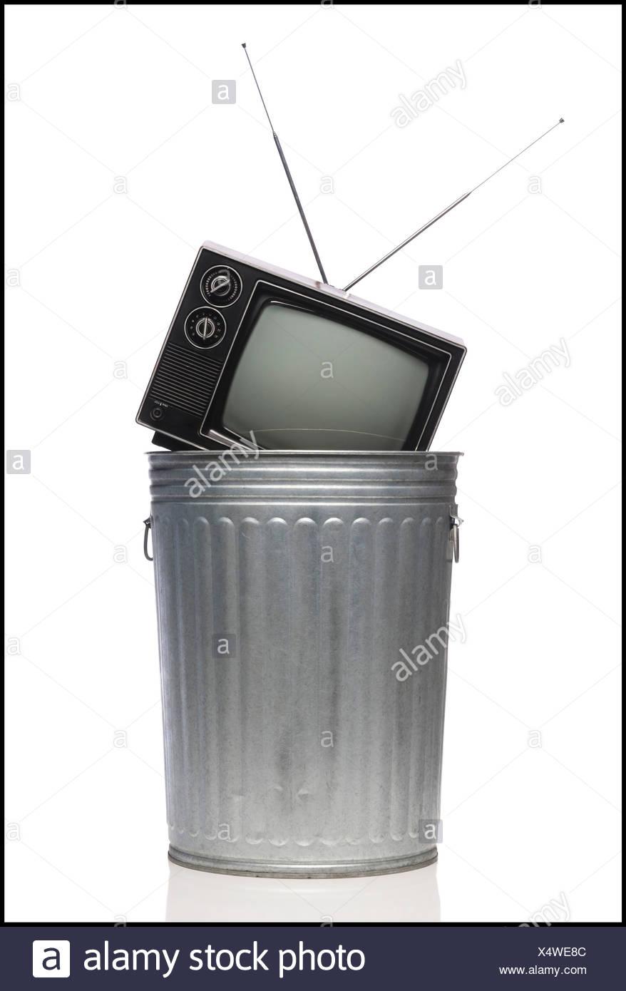tv in the trash - Stock Image