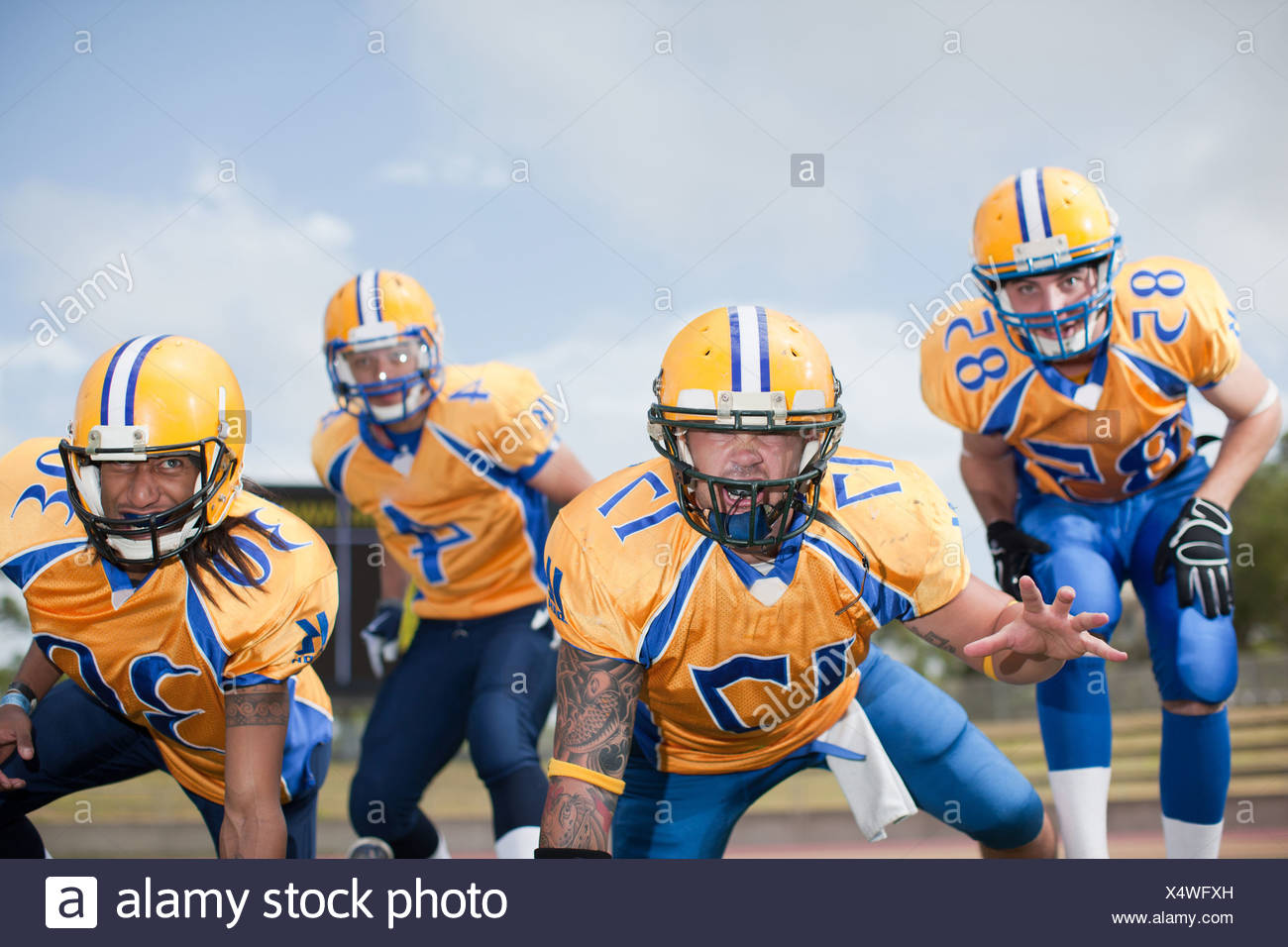 Intimidating football players - Stock Image