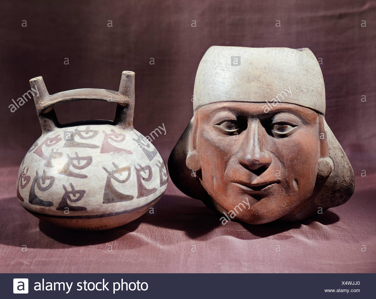 fine arts, Peru, ceramics, vessels in shape of a portrait and a stirrup, earthenware, painted, 8th century, Lindenmuseum Stuttgart, Artist's Copyright has not to be cleared - Stock Image