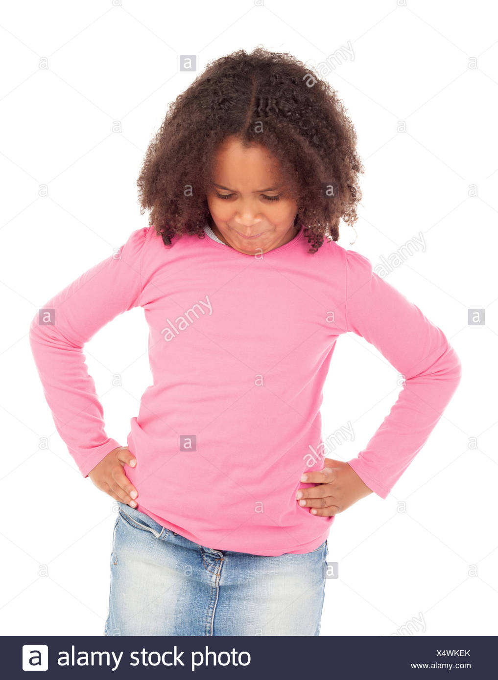 Angry african little girl - Stock Image