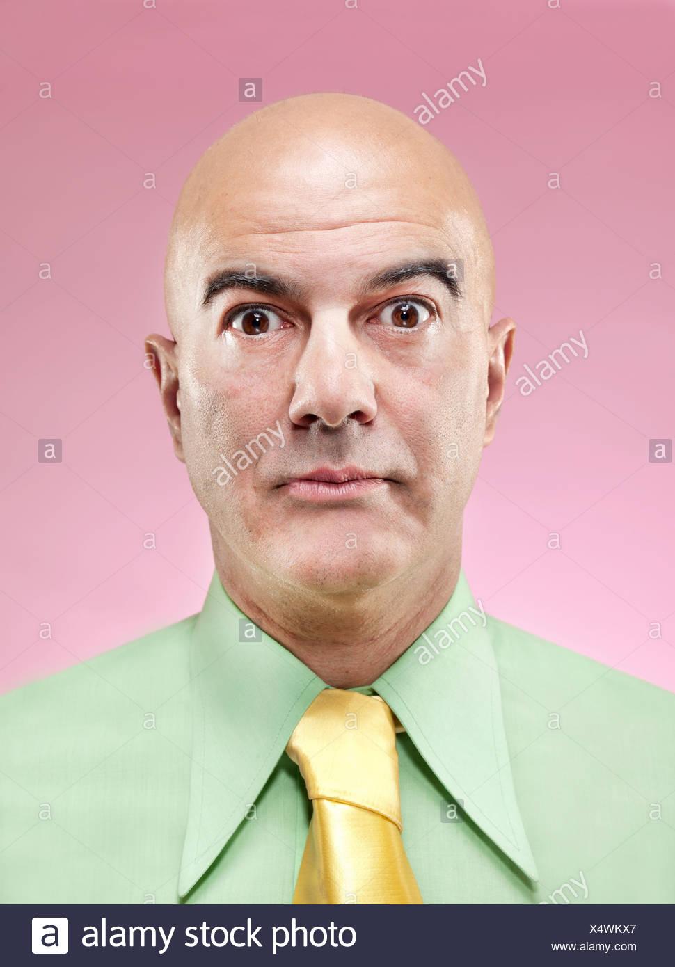 Surprised bald man - Stock Image