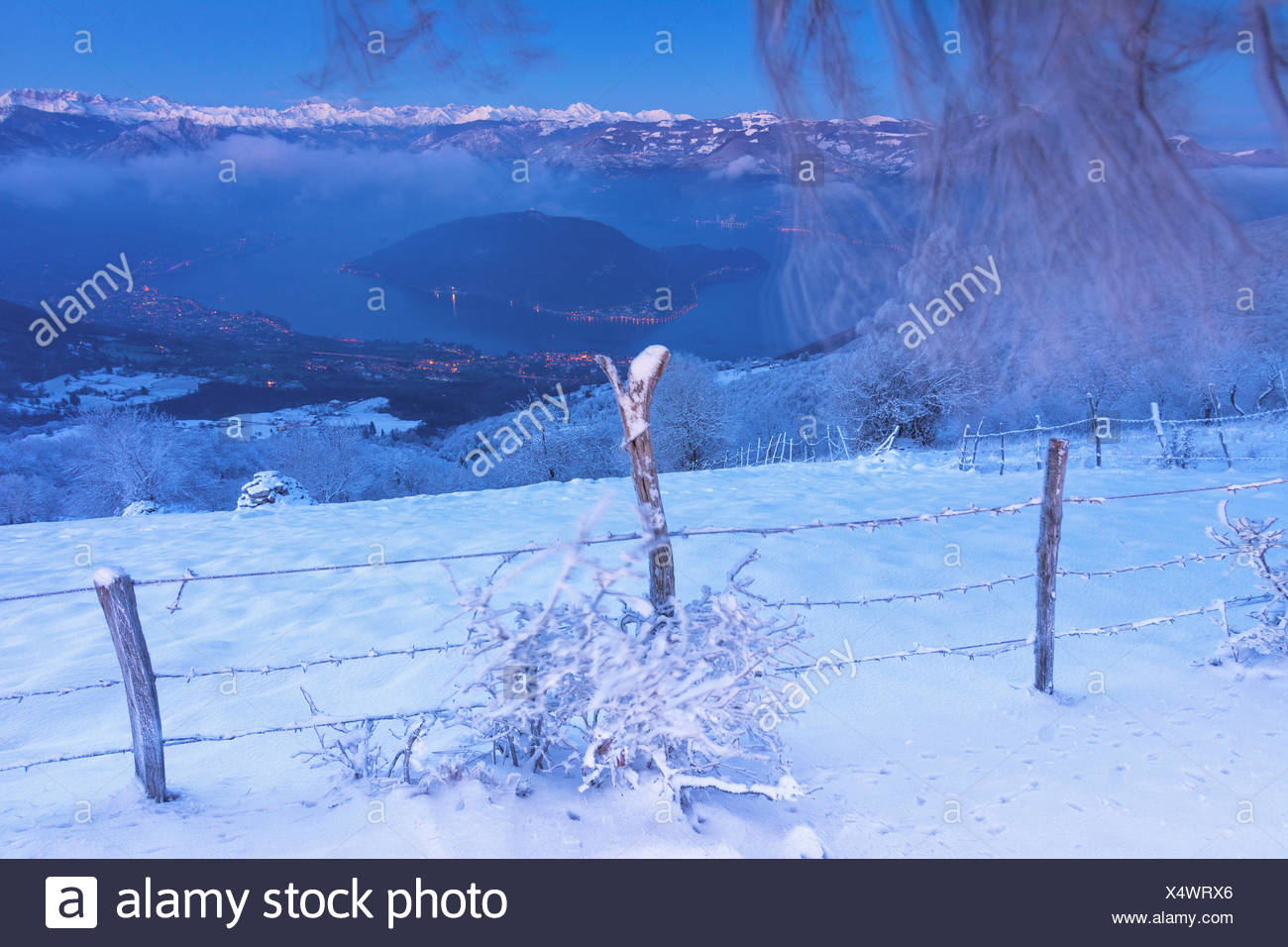 Snowy lake, Iseo lake, Brescia province, Lombardy district, Italy, Europe. - Stock Image