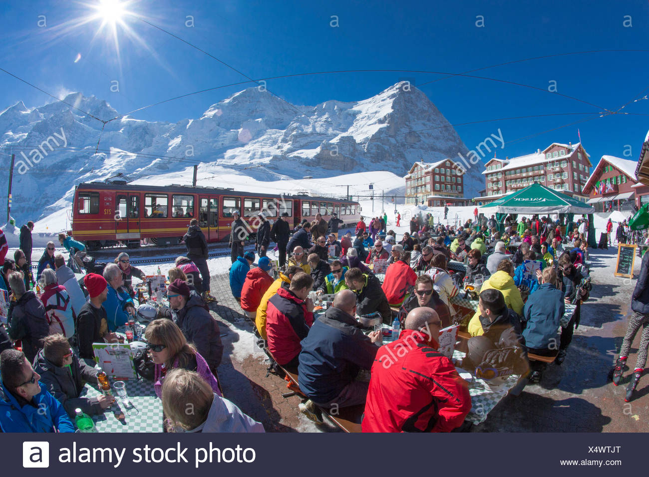 Jungfrau railroad, railway station, Kleine Scheidegg, Eiger, monk, Mönch, Jungfrau, mountain, mountains, ski, skiing, Carving, w - Stock Image
