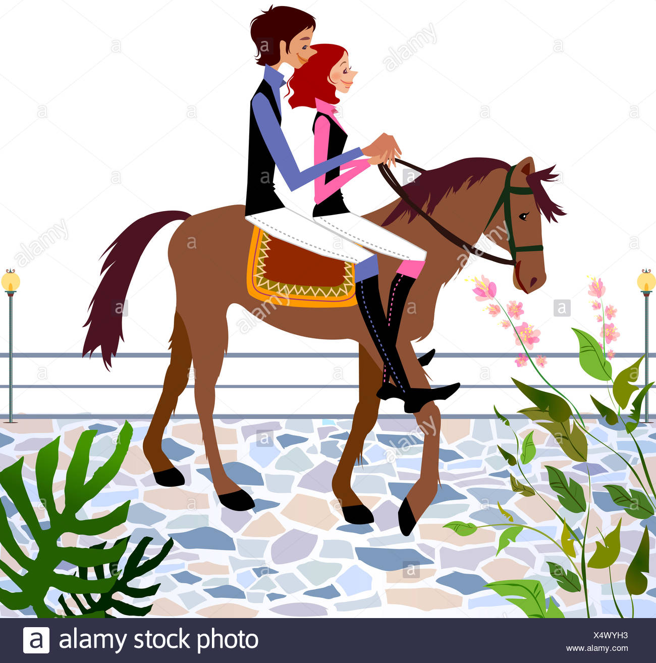 Adults Only Boot Boyfriend Bridle Color Image Computer Graphics Graphics Couple Day Digitally Generated Image Formal Clothing Full Length Girlfriend Holding Horizontal Horse Horseback Riding Illustration Vector Clip Art Looking Stock Photo Alamy