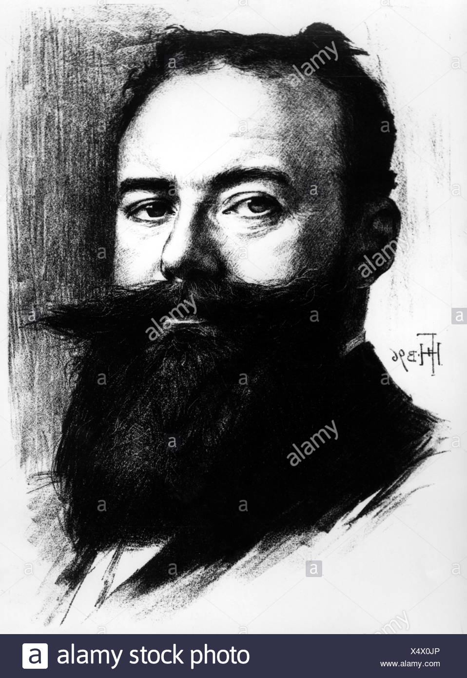 Sudermann, Herrmann, 30.9.1857 - 21.11.1928, German poet, dramatist, portrait, lithograph, by Hans Fechner, 1896, Additional-Rights-Clearances-NA - Stock Image
