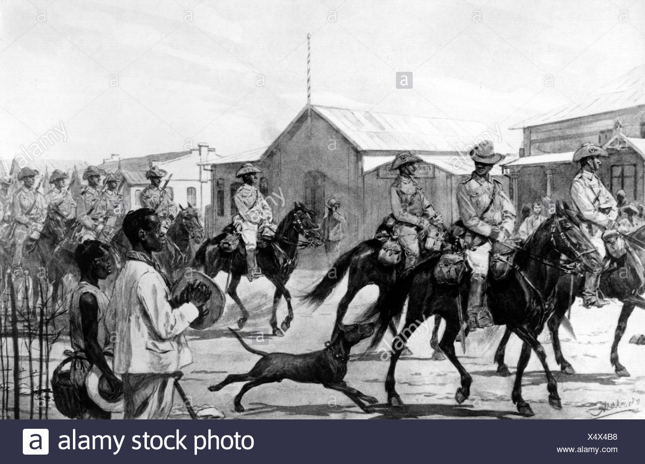 colonialism, German colonies, German South West Africa, marching-through of cavalry troop through Karibib during Herero war, sketch, 1904 / 1907, Additional-Rights-Clearances-NA - Stock Image