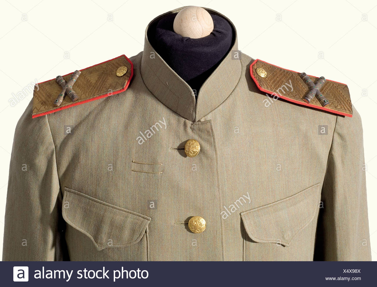 Kaiser Franz Joseph I of Austria (1830 - 1916) - a tunic and Field  Marshal's shoulder boards as the Colonel-Proprietor of the Russian  Kexholmski Foot Guard Regiment., The shoulder boards have superimposed