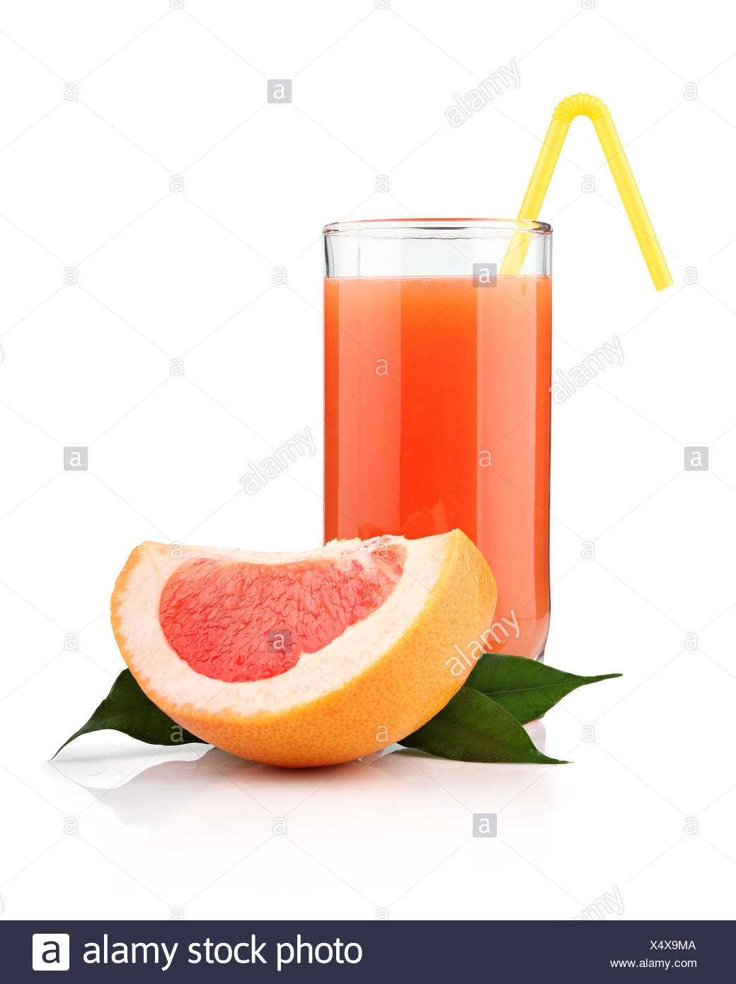 Full glass of grapefruit juice and fruits isolated - Stock Image