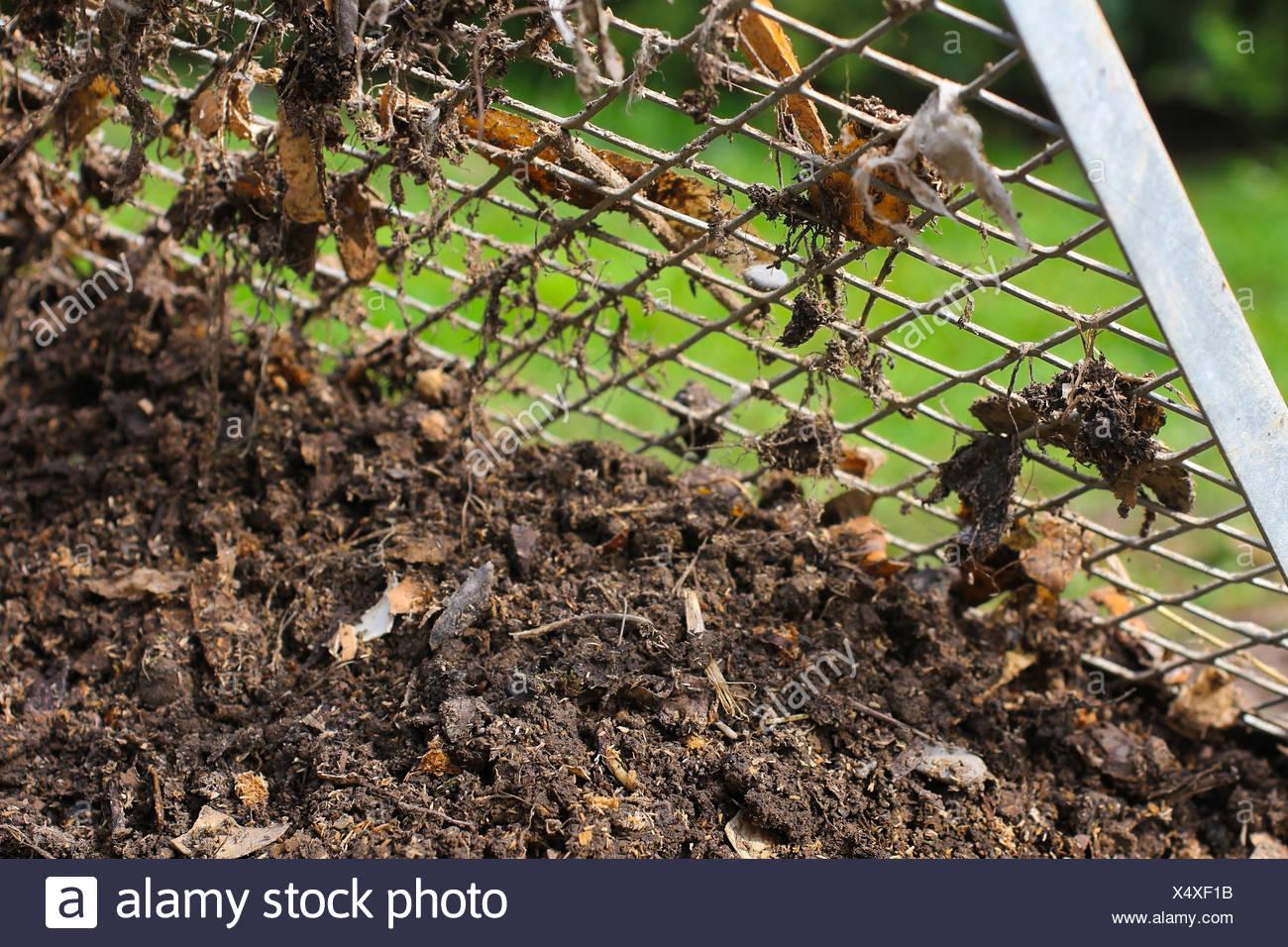kompostsieb with compost Stock Photo