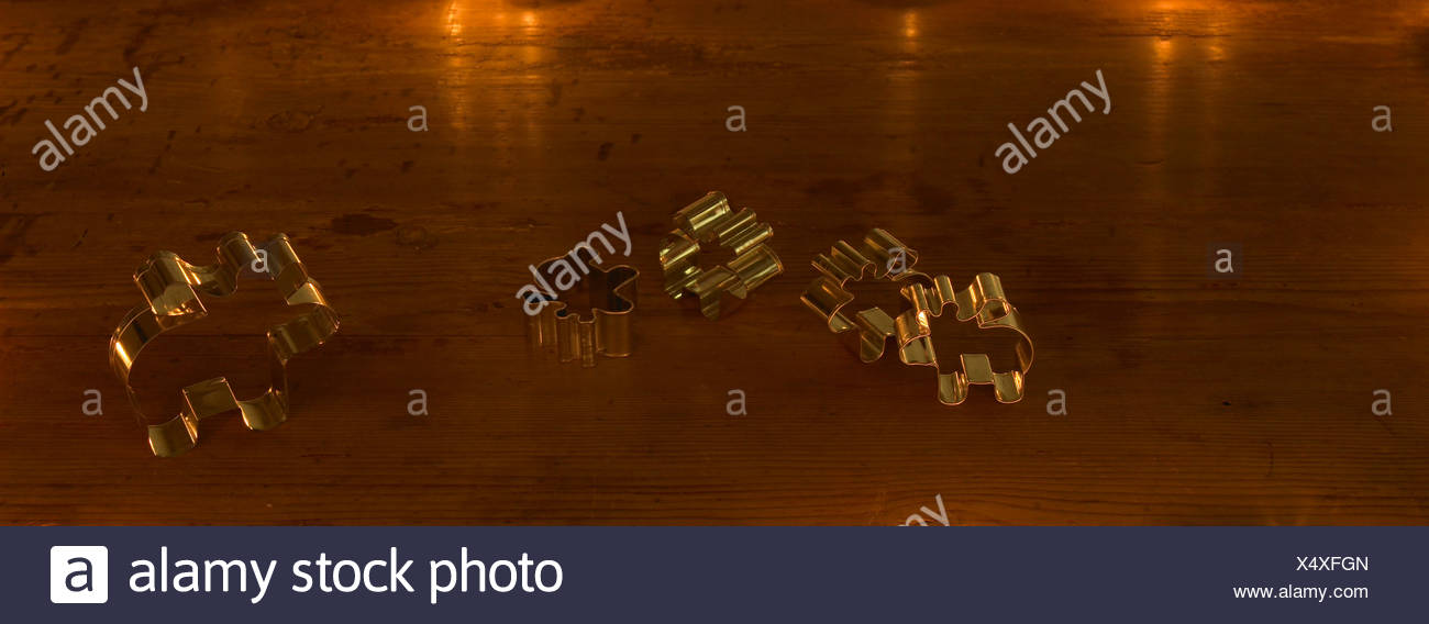 Five moose cookie cutters, elevated view - Stock Image