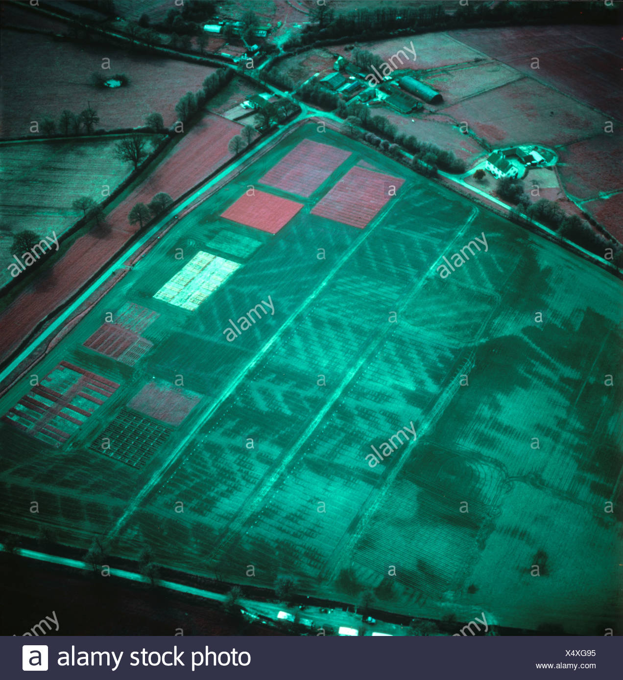 False colour infrared aerial image of a mainly fallow field showing its drainage pattern - Stock Image