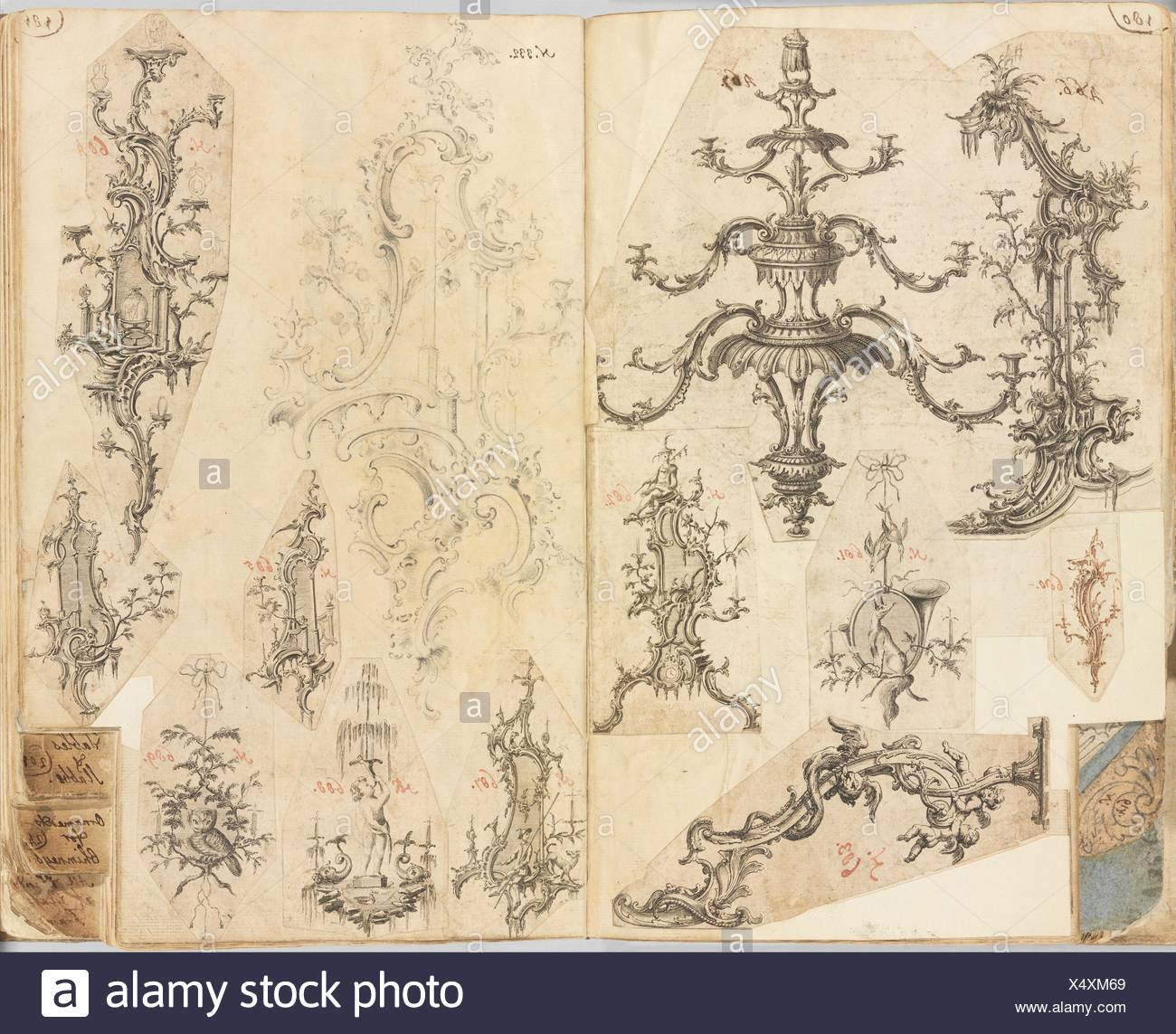 Scrapbook of Working Designs. Artist: Gideon Saint (British, London 1729-1799 Kent); Date: ca. 1760; Medium: Pen and ink, engraving and etching; - Stock Image