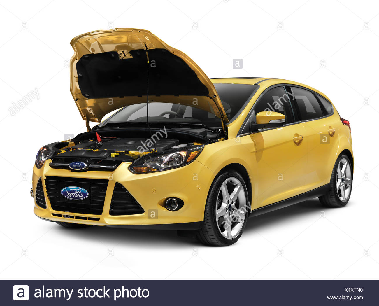Yellow 2012 Ford Focus With Open Hood Stock Photo 278414668 Alamy
