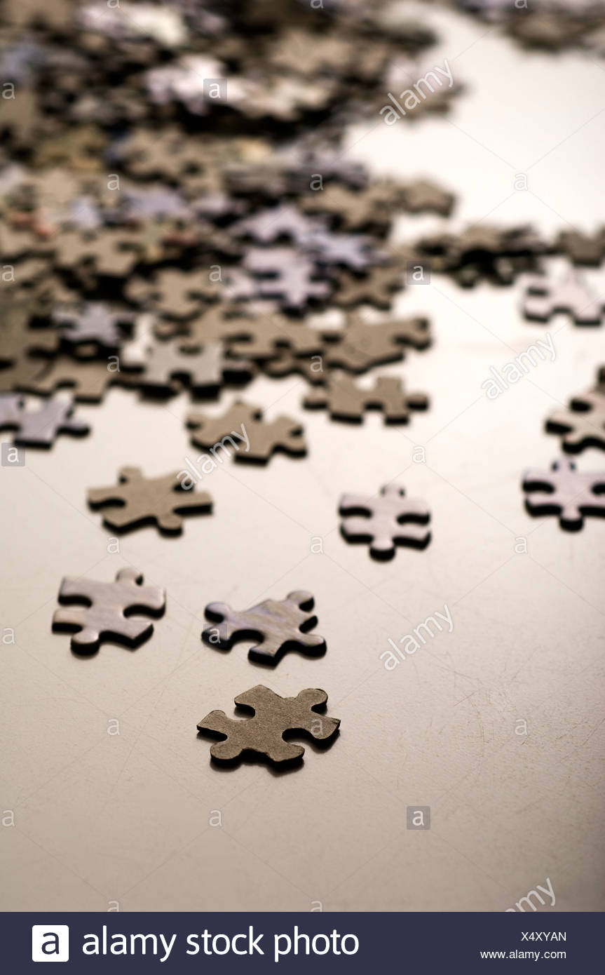 Jigsaw pieces, close-up - Stock Image