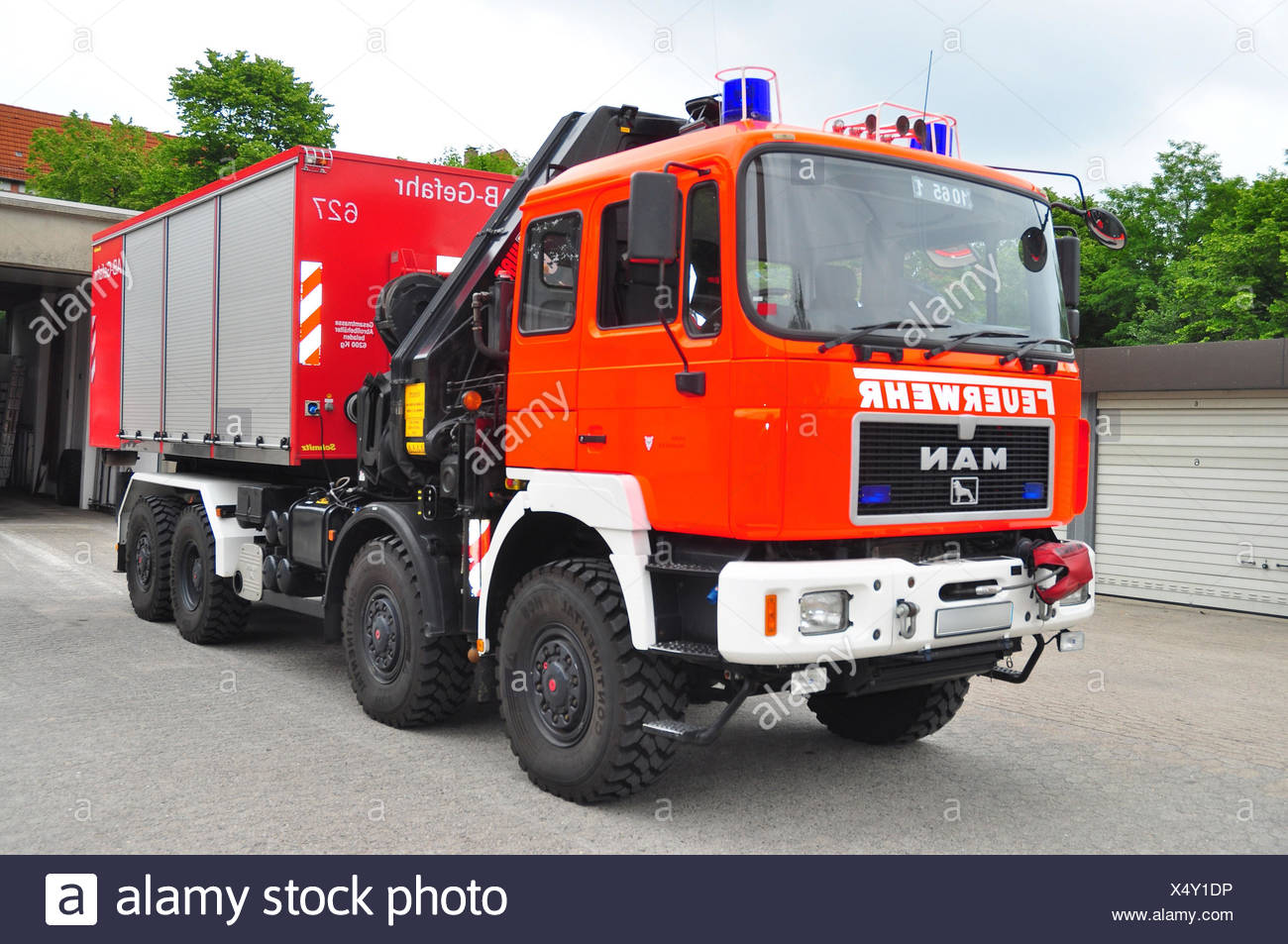 Fire brigade, vehicle, AB-Rüst, Abrollcontainer, - Stock Image