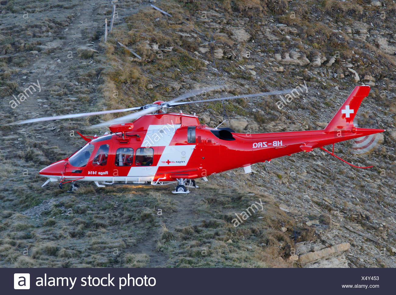 Rega - Swiss Air Ambulance Agusta Westland AW-109 Helicopter - Stock Image