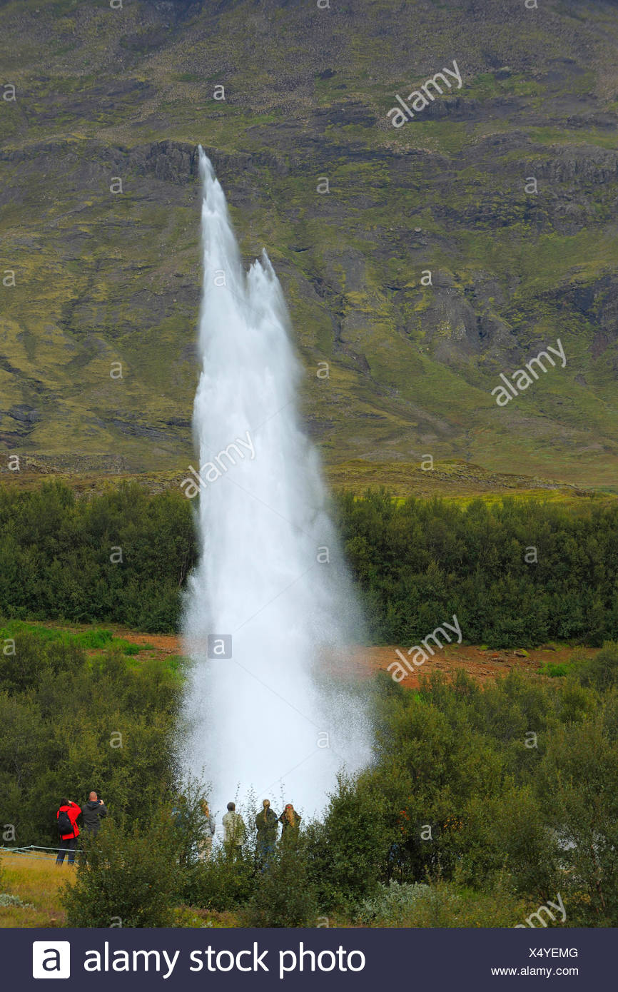 Strokkur Geysir erupting in front of a mountain, Iceland, Haukadalur - Stock Image