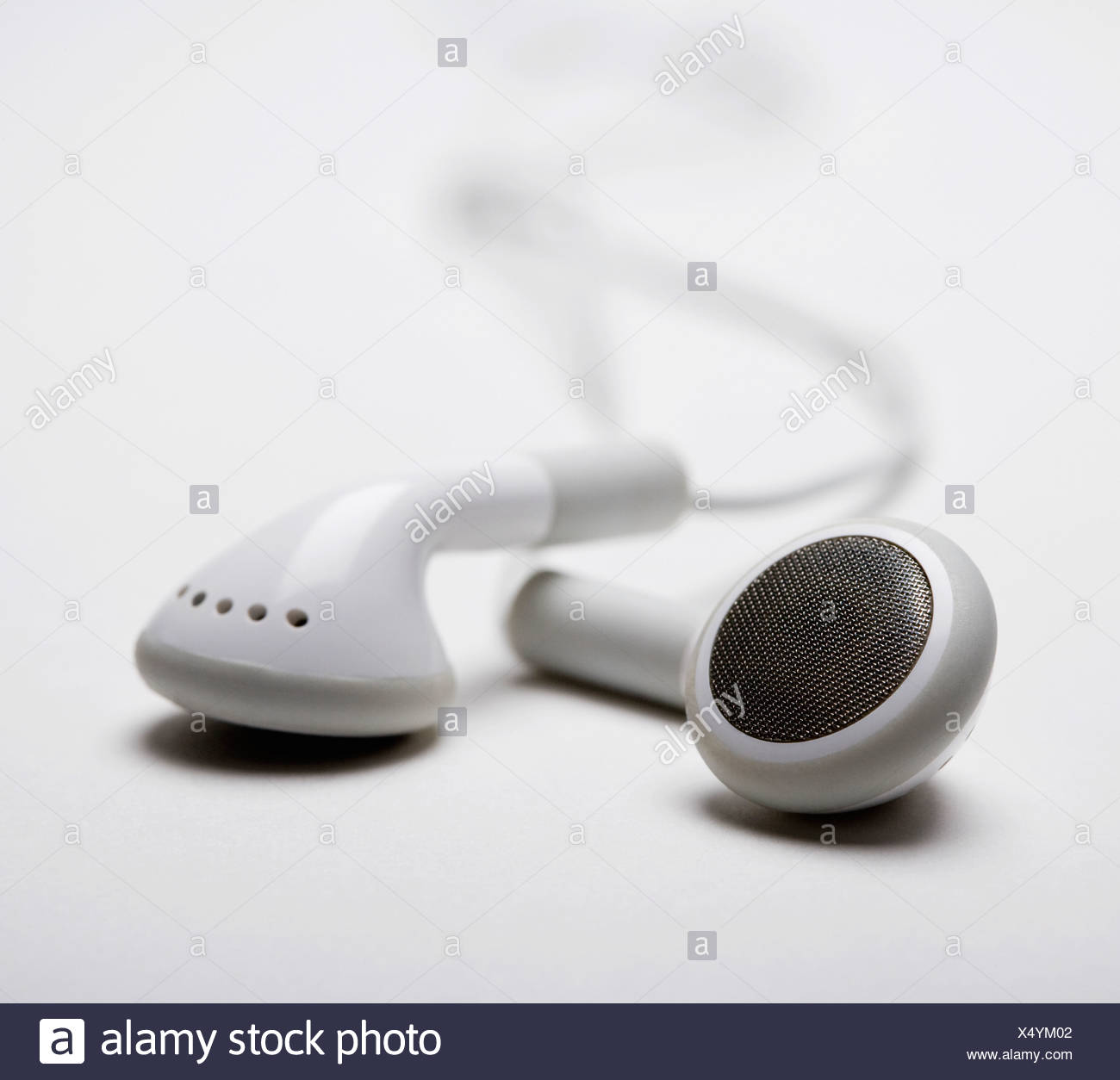 Close up of earbuds - Stock Image