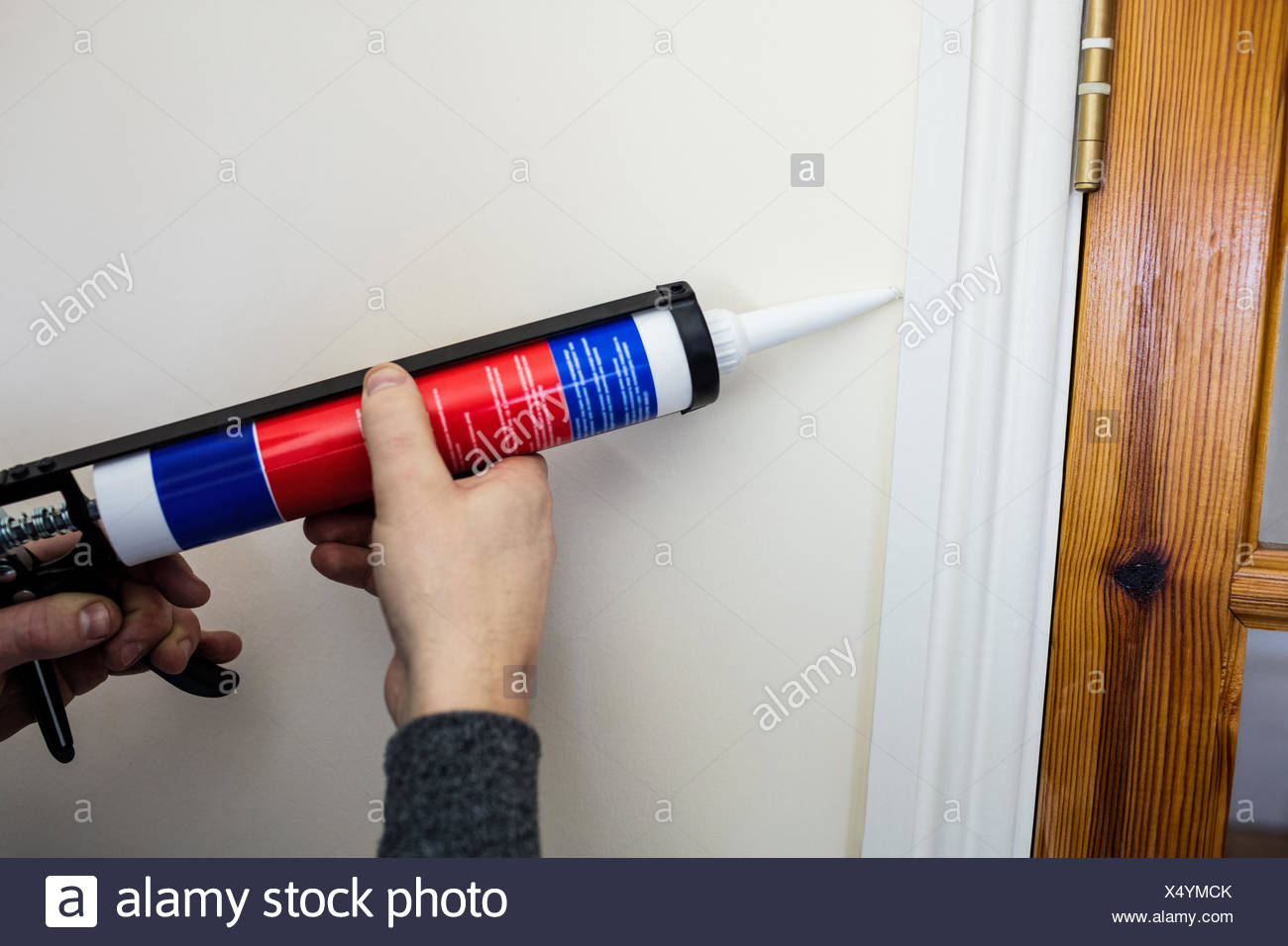 Man using pest control injection - Stock Image