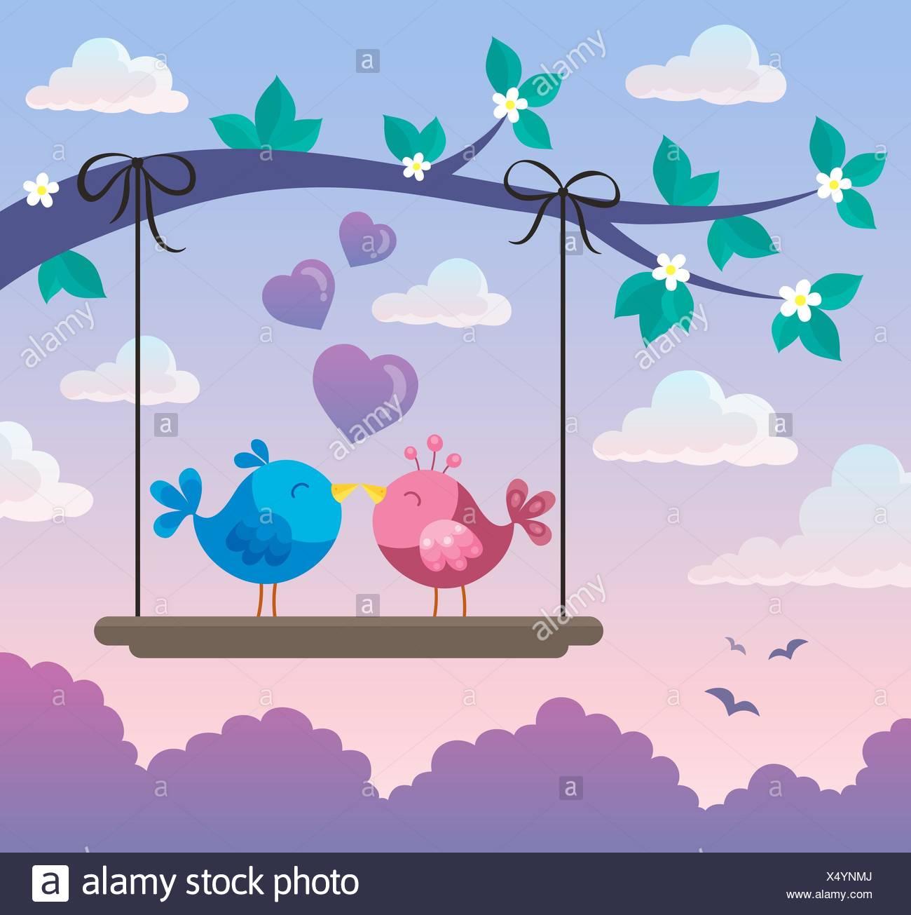 Valentine birds on board below branch 2 - Stock Image
