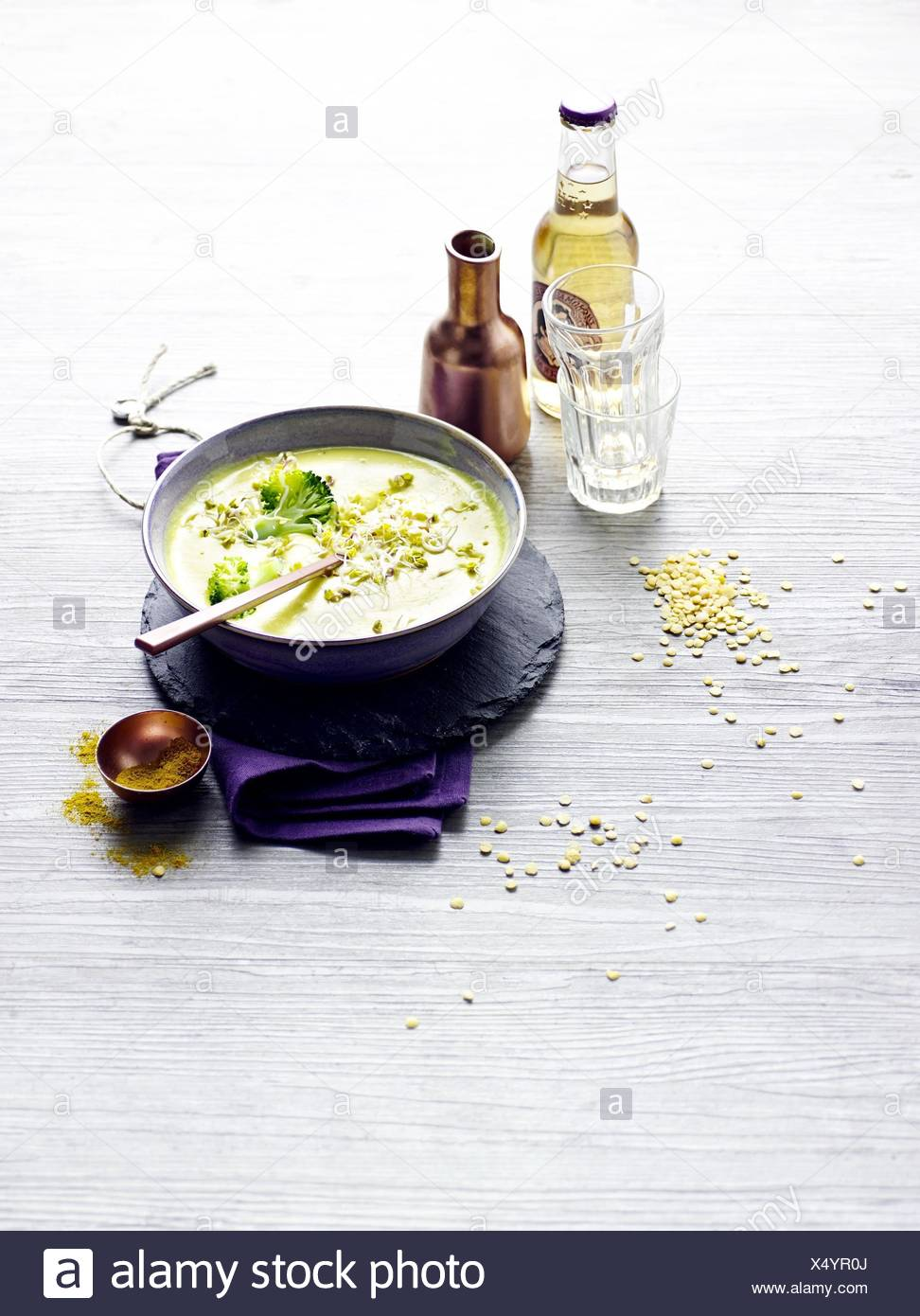 Coconut soup with lentils and sprouts Stock Photo