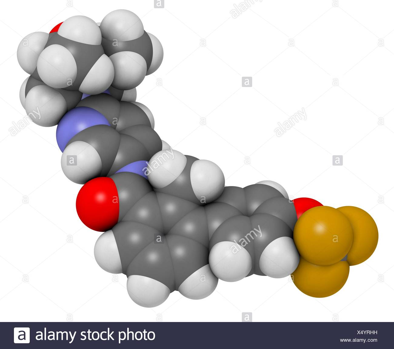 Sonidegib cancer drug molecule. Atoms are represented as spheres with conventional colour coding: hydrogen (white), carbon (grey), oxygen (red), nitrogen (blue), fluorine (gold). - Stock Image