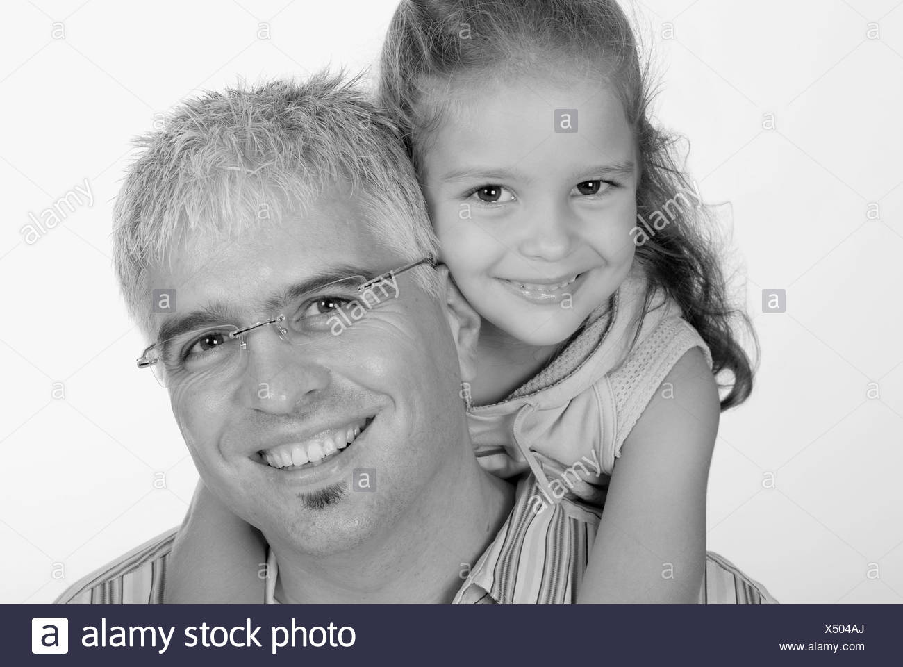 Caucasian Family; Father With Daughter - Stock Image