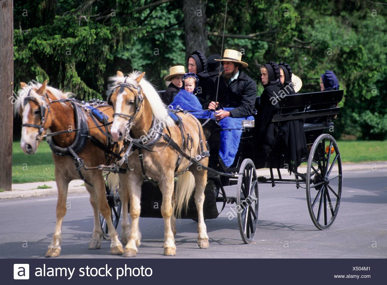 Lancaster County Amish Family In Wagon Editorial Photo