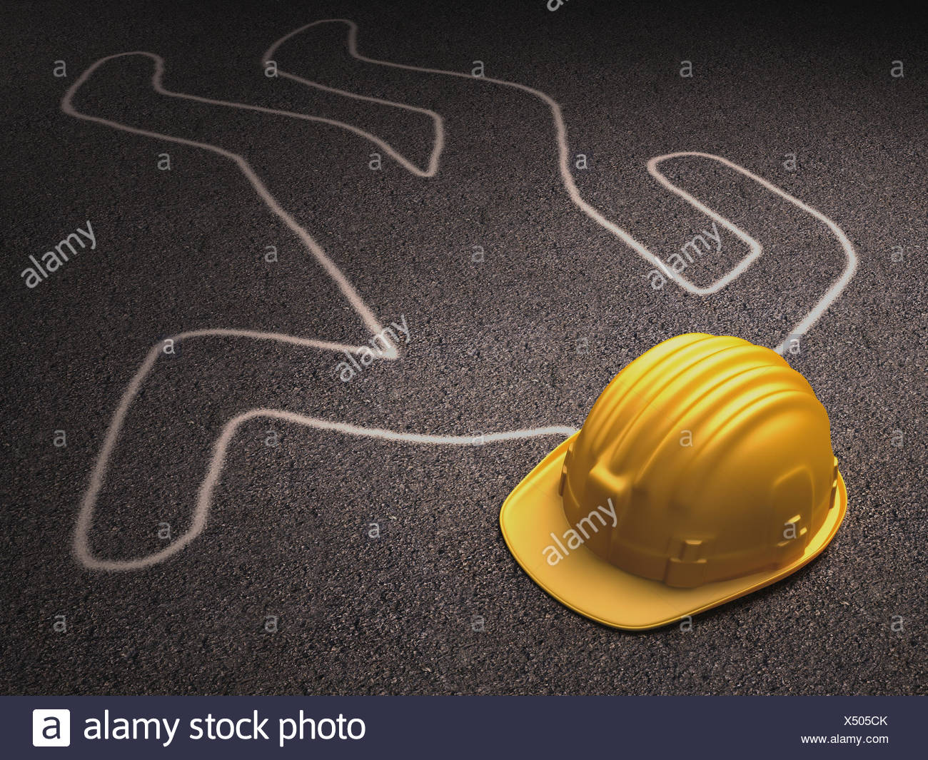 A Helmet Over The Dead Body Outline