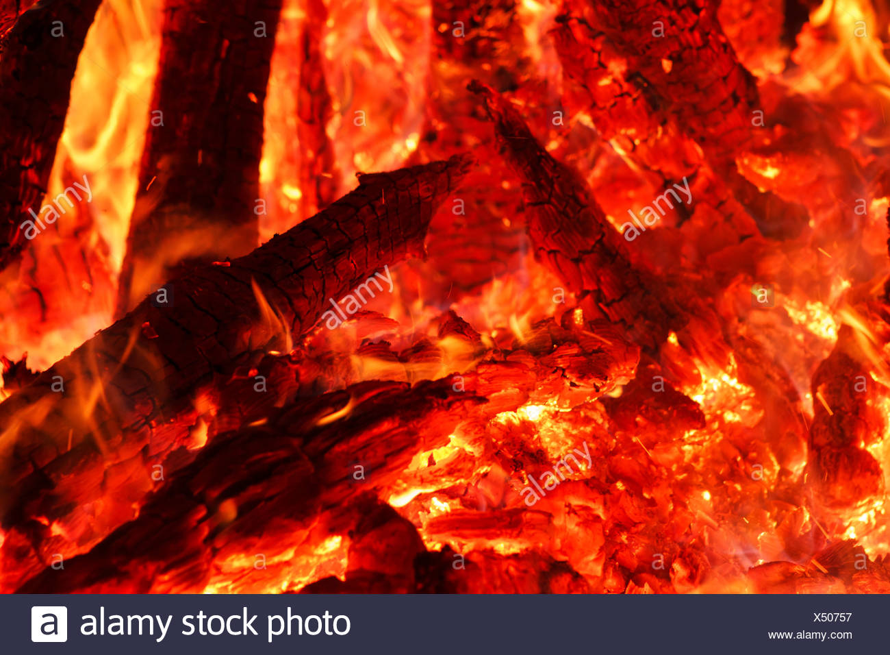 Flaring heat fire and coals - Stock Image